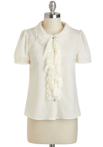 Ahead In The Clouds Top - Cream, Solid, Buttons, Lace, Peter Pan Collar, Ruffles, Work, Vintage Inspired, Short Sleeves, Collared, Mid-length, Spring