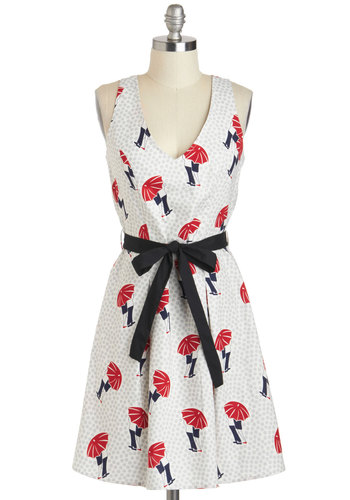 Shield Your Skies Dress - Novelty Print, Cotton, Mid-length, Red, Blue, Grey, Buttons, Belted, Casual, A-line, Racerback, V Neck, Vintage Inspired, White