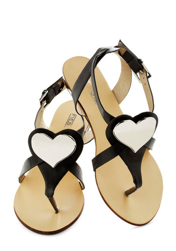 Reflections Of The Heart Sandal - Black, White, Solid, Cutout, Flat, International Designer, Faux Leather, Summer