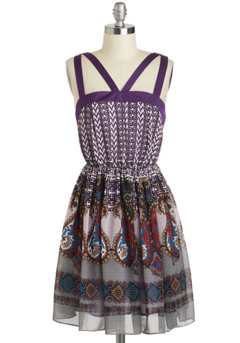 Same Bold Story Dress - Short, Purple, Multi, Print, Cutout, Casual, A-line, Sleeveless, Boho