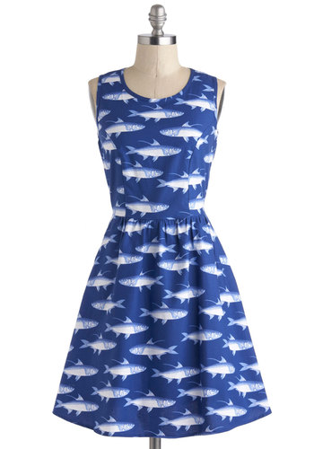 Bass Pandemonium Dress - Print with Animals, Cotton, Blue, White, Pockets, Casual, A-line, Sleeveless, Scoop, Fit & Flare, Mid-length