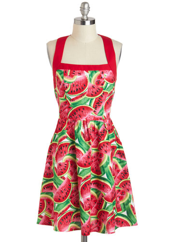 Watermelon on My Mind Dress - Novelty Print, Fruits, Cotton, Mid-length, Red, Green, Pink, Black, White, Cutout, Pockets, Daytime Party, A-line, Sleeveless, Summer