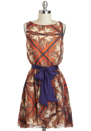 The Ties Have It Dress - Chiffon, Short, Multi, Print, Belted, Casual, A-line, Sleeveless, Boat, Cutout, Work