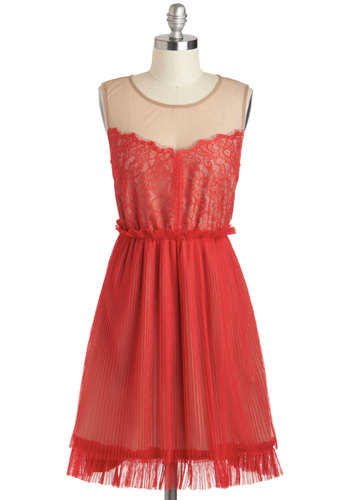 Frankly Scarlet Dress - Mid-length, Red, Tan / Cream, Lace, Ruffles, Party, A-line, Sleeveless, Scoop, Prom, Summer