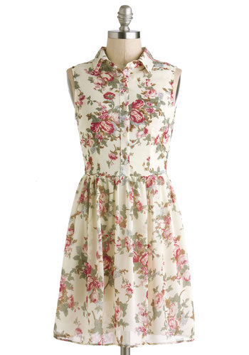 Rose-Scented Letters Dress - Sheer, Short, Cream, Multi, Floral, Buttons, Casual, A-line, Sleeveless, Collared, Spring