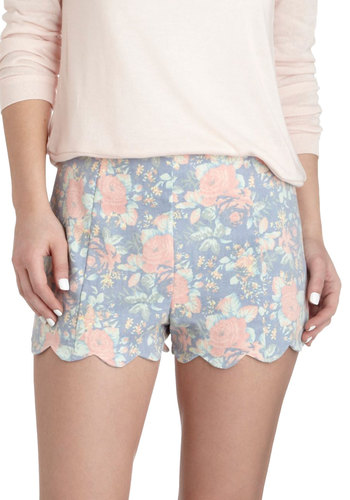 Pedals on Blossoms Shorts - Blue, Pink, Floral, Scallops, Spring, Summer