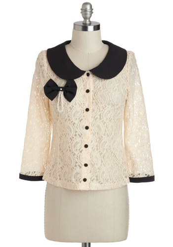 Monday's Best Cardigan - Sheer, Short, Cream, Black, Buttons, Lace, Pearls, Peter Pan Collar, Wedding, Work, Vintage Inspired, Long Sleeve, Collared, Beads