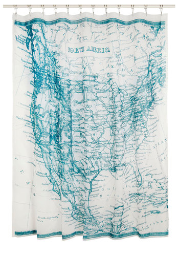 Pros and Continental Shower Curtain by Kikkerland - Blue, White, Scholastic/Collegiate, Travel, Good, Top Rated