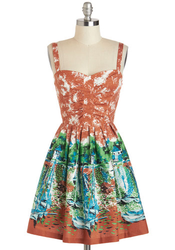 Mount Desert Dreaming Dress - Cotton, Short, Brown, Green, Blue, Black, White, Print, Pleats, Daytime Party, Fit & Flare, Spaghetti Straps, Sweetheart, Summer, Beach/Resort, Nautical