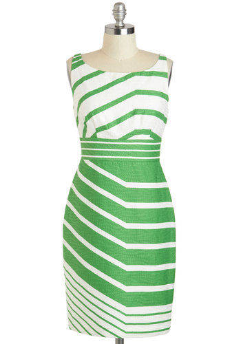 A Fresh Direction Dress - Cotton, Mid-length, White, Stripes, Sheath / Shift, Sleeveless, Boat, Work, Daytime Party, Vintage Inspired, 60s, Mod, Summer, Green