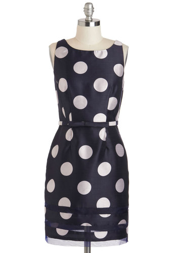Dot Com & Collected Dress in Navy - Mid-length, Blue, White, Polka Dots, Belted, Party, Sheath / Shift, Sleeveless, Boat, Cocktail, Vintage Inspired, 50s, Work