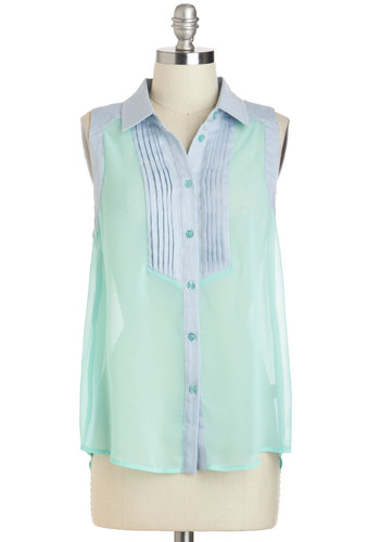 A Lesson in Lovely Top - Sheer, Mid-length, Mint, Blue, Solid, Buttons, Casual, Pastel, Sleeveless, Collared, Summer