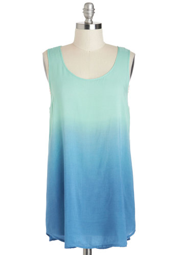 Slow Fade Top - Mint, Blue, Casual, Tank top (2 thick straps), Long, Ombre, Summer, Travel