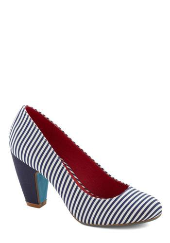 Believe It Or Nautical Heel by Chelsea Crew - Stripes, Nautical, Mid, Blue, White, Work, Leather, Pinup