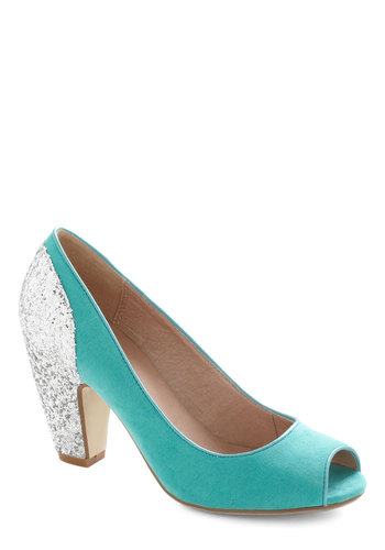 Glitter By Little Heel by Chelsea Crew - Blue, Solid, Glitter, Formal, Peep Toe, Mid, Leather