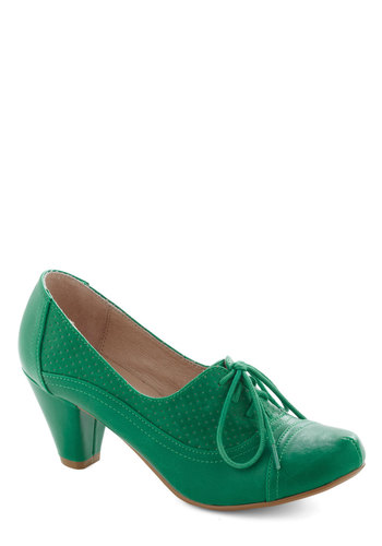 Right Here Heel in Lime by Chelsea Crew - Green, Solid, Vintage Inspired, 20s, 30s, Mid, Leather, Work, Faux Leather, Lace Up, 60s