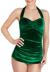 Bathing Beauty One Piece in Emerald Velvet - Green, Solid, Ruching, Beach/Resort, Pinup, Vintage Inspired, Summer
