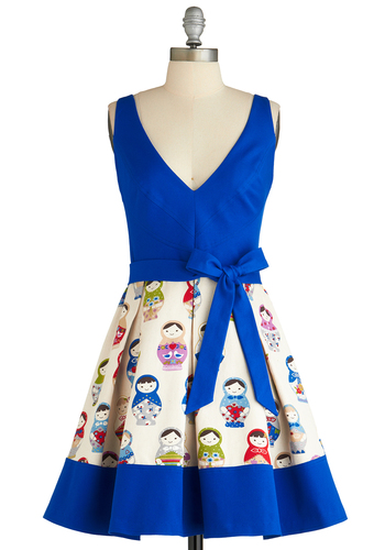 Doll in All Dress by Eva Franco - Mid-length, Blue, Multi, Novelty Print, Pleats, Sleeveless, Fit & Flare, Belted, Cotton, Quirky, V Neck, Daytime Party, Press Placement, Top Rated