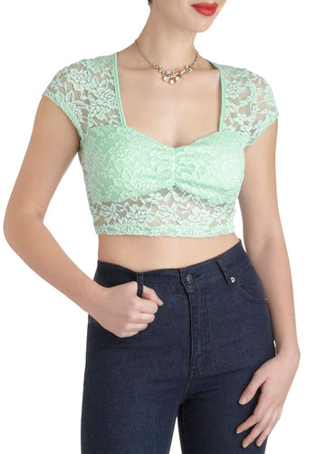 Experi-mint with Style Top - Sheer, Short, Mint, Lace, Party, Girls Night Out, Short Sleeves, 80s, Pastel, Summer