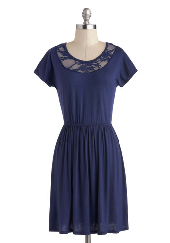 Outdoor Class Dress - Short, Blue, Solid, Lace, Party, A-line, Short Sleeves, Scoop, Exclusives, Summer, Gifts Sale