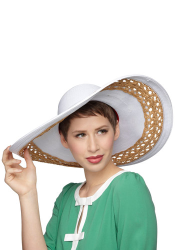 Vineyard Vacation Hat - White, Tan / Cream, Solid, Cutout, Woven, Daytime Party, Beach/Resort, Nautical, Spring, Summer
