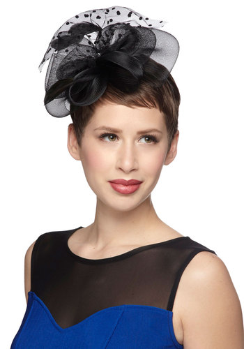 It Happened at the Gala Fascinator - Black, Solid, Polka Dots, Feathers, Formal, 50s, Statement
