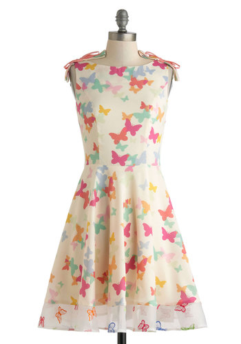 Butterfly Miss Dress by Nishe - International Designer, Cream, Multi, Print with Animals, Bows, Daytime Party, A-line, Sleeveless, Boat, Mid-length, Spring, Graduation