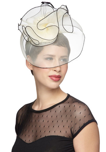 Fashion Show Front Row Fascinator - Cream, Black, Solid, Feathers, Trim, Formal, Wedding, Statement