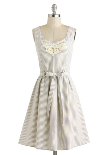 Pastoral Promenade Dress by Bibico - International Designer, Cotton, Mid-length, Blue, Tan / Cream, Stripes, Crochet, Belted, Casual, A-line, Tank top (2 thick straps), Scoop, Eco-Friendly, Summer