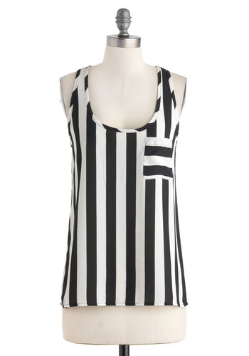 Stripe the Right Note Top - Black, White, Stripes, Pockets, Casual, Racerback, Sheer, Mid-length, Summer, Travel