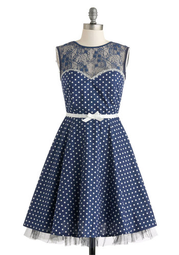 A Dot to Love Dress - Cotton, Mid-length, Blue, White, Polka Dots, Backless, Bows, Lace, Party, A-line, Sleeveless, Crew, Wedding, Vintage Inspired, 50s, Prom, Bridesmaid, Sheer