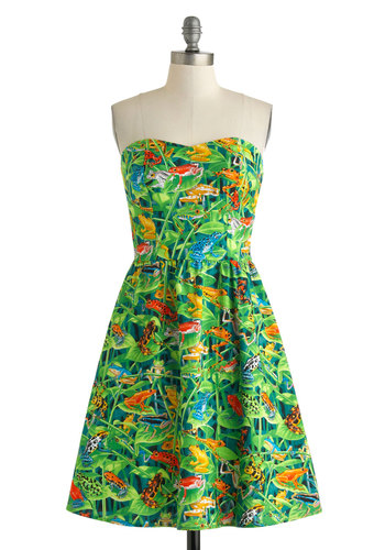 Cloud Forest Cool Dress - Cotton, Short, Green, Multi, Print with Animals, Pockets, Daytime Party, A-line, Strapless, Sweetheart, Beach/Resort, Summer