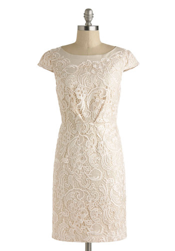 Long Time No Filigree Dress by Darling - Cotton, Mid-length, Cream, Solid, Exposed zipper, Lace, Daytime Party, Sheath / Shift, Cap Sleeves, Boat, Wedding, Graduation, Bride