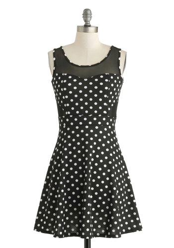 Dining in Dots Dress - Short, Black, White, Polka Dots, Casual, A-line, Tank top (2 thick straps), Scoop