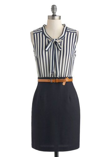 Office to a Running Start Dress - Mid-length, Blue, White, Stripes, Belted, Tie Neck, Work, Shift, Sleeveless, Crew, Pockets, Sheer