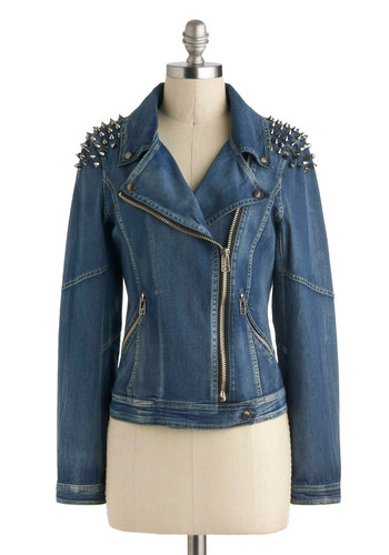 Wheel Tough Gal Jacket - Blue, Pockets, Studs, Long Sleeve, Short, Statement, Urban, Exposed zipper, Fall