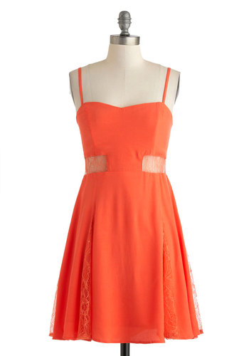 Persimmon Smiles Dress - Sheer, Mid-length, Coral, Solid, Lace, Party, A-line, Spaghetti Straps, Sweetheart, Cutout, Summer