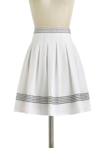 In Border to Succeed Skirt - Mid-length, White, Black, Solid, Pleats, Work, Casual, Scholastic/Collegiate, A-line