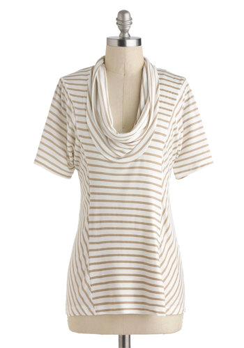 Overnight Travel Top in White Pepper - Exclusives, Stripes, Casual, Short Sleeves, Cowl, Travel, Mid-length, Better, Best Seller, White, Short Sleeve