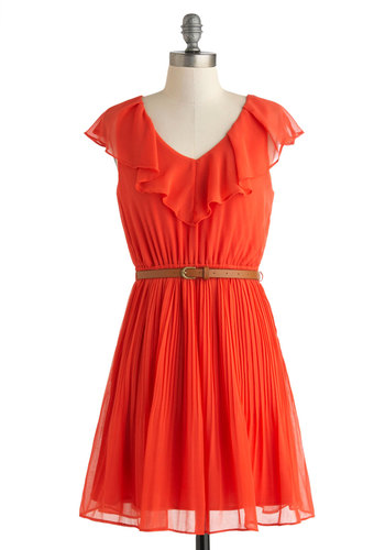Diamond in the Ruffles Dress - Red, Solid, Cutout, Ruffles, Belted, Party, A-line, Sleeveless, V Neck, Pleats, Daytime Party, Short, Summer