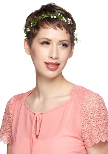 Backyard Festival Headband - Green, Solid, Flower, Wedding, Pink, White, Daytime Party, Boho, Fairytale, Spring, Summer