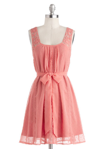 Pleasantly Surprised Dress - Mid-length, Pink, Solid, Cutout, Lace, Belted, Casual, A-line, Tank top (2 thick straps), Graduation, Wedding, Bridesmaid