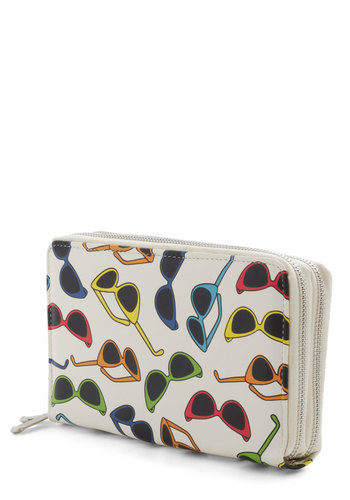 Glasses Half Full Wallet - Cream, Multi, Print, Vintage Inspired, 50s