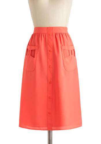 Morning Radiance Skirt by Tulle Clothing - Pink, Solid, Buttons, Pockets, Mid-length, Casual