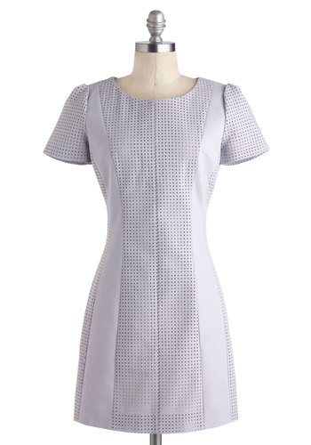 Here, Square, and Everywhere Dress - Short, Purple, Solid, Party, Sheath / Shift, Short Sleeves, Crew, Cutout