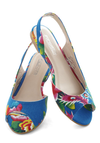 Resort To Bliss Flat - Flat, Blue, Multi, Floral, Peep Toe, Slingback, International Designer, Daytime Party, Beach/Resort