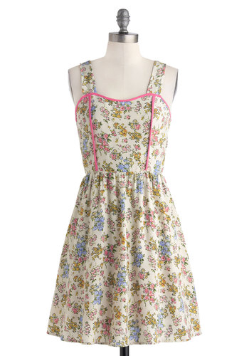 In-House Illustrator Dress - Mid-length, Cream, Multi, Bows, Cutout, Casual, A-line, Tank top (2 thick straps), Sweetheart, Floral, Summer