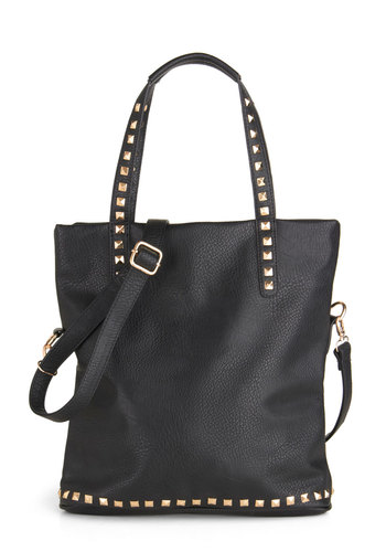 Studded Session Bag - Black, Solid, Studs, Faux Leather