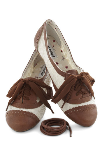A Pretty Sight Flat in Almond - Tan, White, Cutout, Lace, Menswear Inspired, Flat, Lace Up