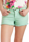 Off-Duty Cutie Shorts - Cotton, Beach/Resort, Mint, Solid, Pockets, Casual, Pastel, Spring, Summer, Denim